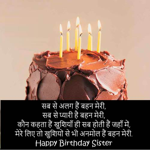 Happy Birthday Shayari For Sister in Hindi